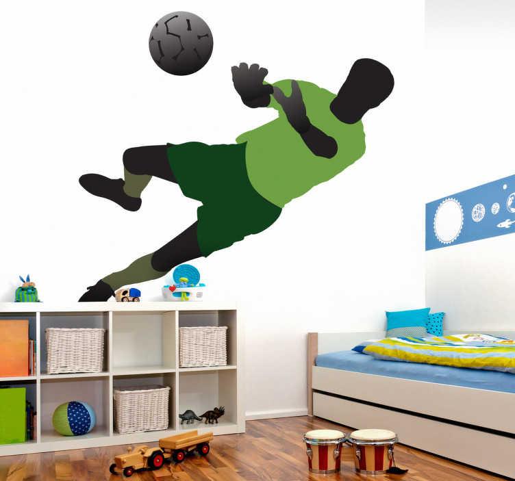 TenStickers. Naklejka bramkarz. Naklejka na ścianę przedstawiająca sylwetkę bramkarza w zielonym stroju rzucającego się za piłką.