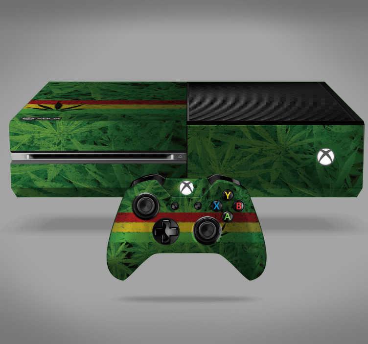 TenVinilo. Vinilo xbox planta marihuana. Pegatina adhesiva para Xbox y controladores con estampado de hojas de marihuana acompañadas de la bandera rastafari. Descuentos para nuevos usuarios.