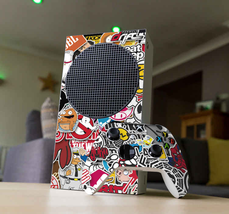 TenStickers. Klassieke games Xbox sticker. Decoreer de Xbox met deze sticker waar verschillende klassieke games op zijn afgebeeld. Controller stickers ook beschikbaar. Snelle klantenservice.