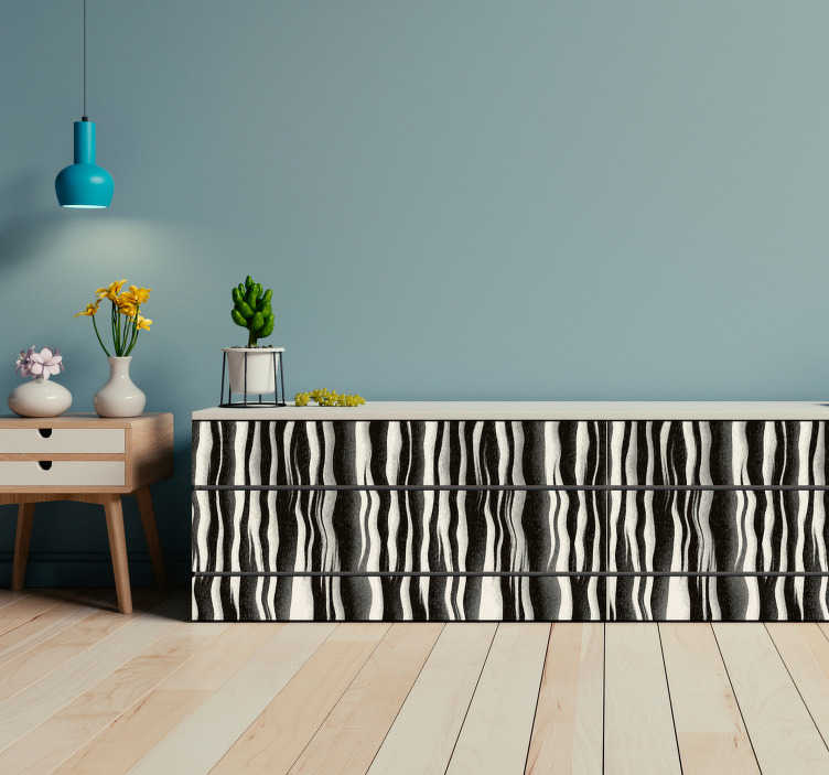 TenStickers. Autocolantes  eletrodomésticos pele de zebra. Autocolantes com texturas de pelo de animais selvagens para decorar qualquer divisão e área da sua casa.