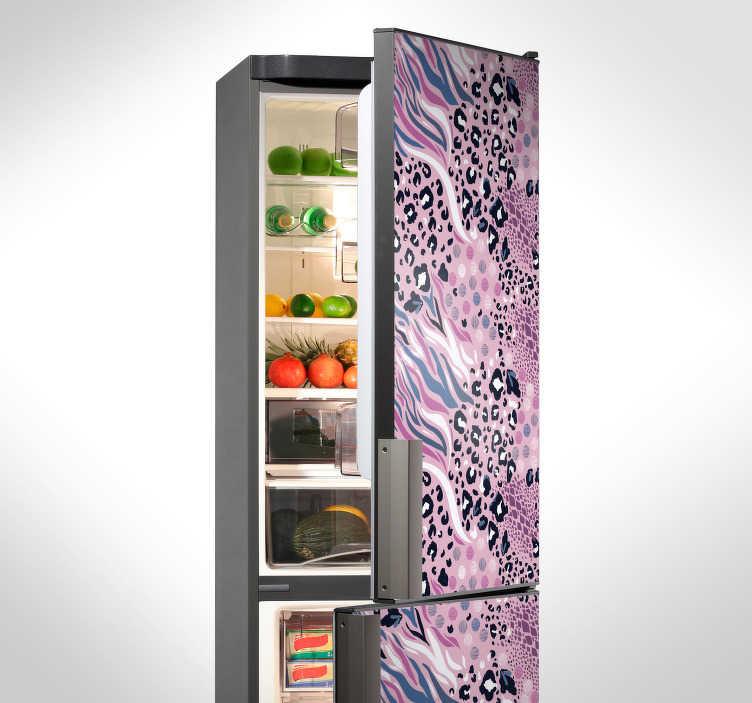 TenStickers. Naklejka na lodówkę różowe zwierzęce motywy. Naklejka na lodówkę, przedstawiająca wspaniały motyw wymieszanych zwierzęcych nadruków. Spraw, aby Twoja kuchnia wyglądała oryginalnie, dzięki tej naklejce! Stwórz swój wymarzony projekt!