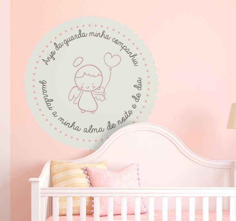 TenStickers. Autocolantes para casa anjo da guarda. Autocolantes decorativos para quarto infantil, ideal para criar um ambiente mais acolhedor nos quartos dos seus filhos.