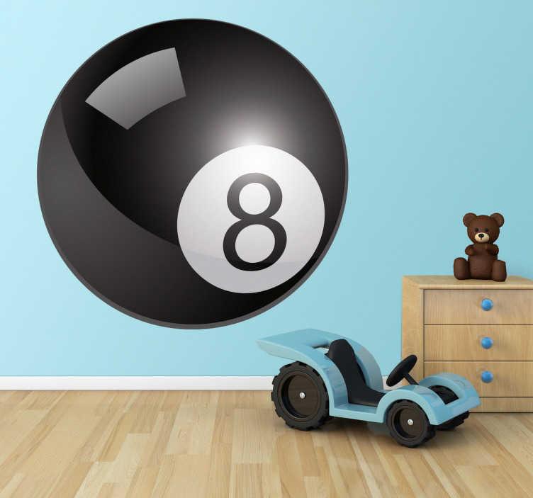 TenStickers. Sticker sport biljartbal 8. Een leuke muursticker voor de fans van biljart of poolen. Wandsticker van de zwarte biljartbal met het nummer 8.
