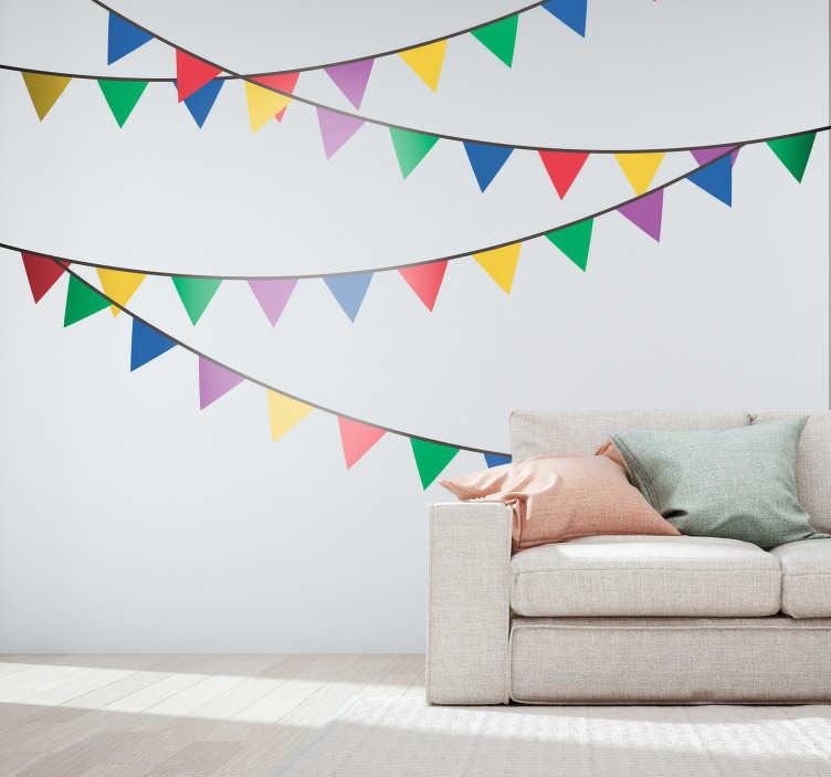 TenStickers. Sticker Maison Banderolles Multicouleurs. Découvrez comment introduire la fête chez vous avec nos stickers banderolles pour vous faciliter la décoration intérieure. Livraison Rapide.