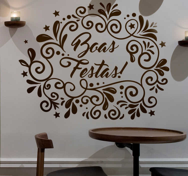 TenStickers. Autocolantes festividades boas festas. Uma maravilhosa opção de autocolantes de Natal para decorar a sua casa nesta epoca festiva. Não deixam residuos após remoção.