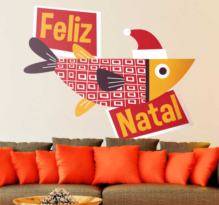 TenStickers. Merry Christmas christmas wall sticker. An amazing Christmas wall sticker with the design of fish boat and Christmas message text. Easy to apply and available in any required size.
