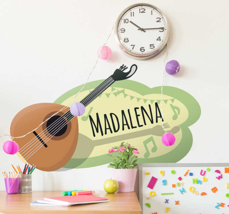 TenStickers. Customizable Portuguese Guitar wall decal. Customizable Portuguese Guitar wall sticker. Provide any desired text needed to personalise the music instrument design. Easy to apply and adhesive.
