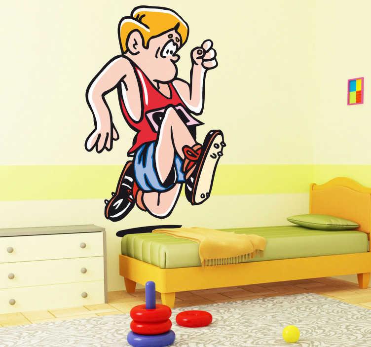 TenStickers. Sticker kinderkamer cartoon loper. Muursticker van een jongen met een sportieve ingesteldheid dat meedoet aan een wedstrijd hardlopen. Prachtige wanddecoratie voor de kinderkamer.