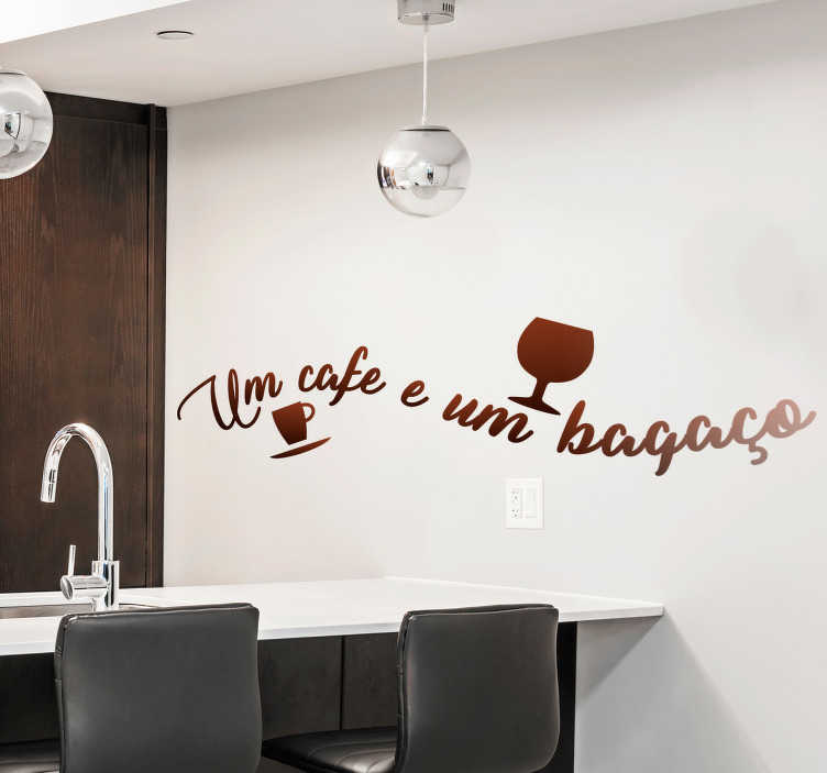 TenStickers. coffee text in Portuguese drink wall sticker. Popular saying vinyl sticker in Portuguese language that can be used as a kitchen decoration. Available in different colour options.