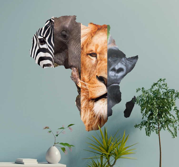 TenStickers. Afrikanske dyr vægmaleri klistermærke. Dekorere dine vægge med disse fantastiske klistermærker med dyr. Personlige tiltag til rådighed.