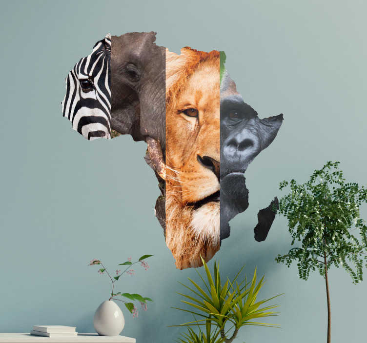 TENSTICKERS. アフリカの動物の壁の壁のステッカー. 動物とこの驚くべきステッカーであなたの壁を飾る。パーソナライズされた措置