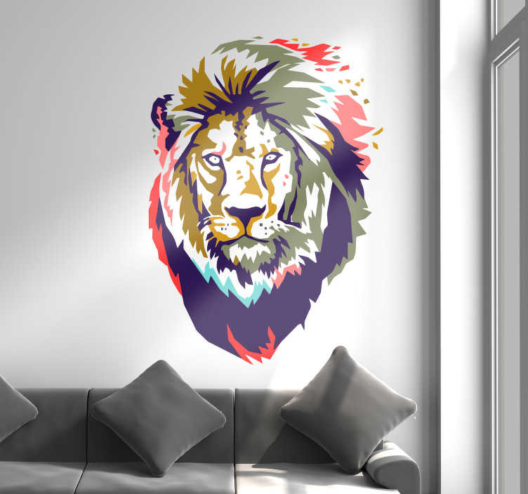 TENSTICKERS. アフリカンライオンのリビングルームの壁の装飾. あなたの素朴な壁を飾る素晴らしいステッカー。パーソナライズされた色を利用できます