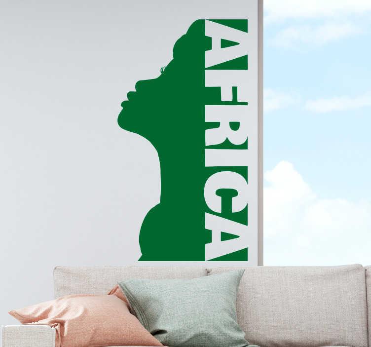 Tenstickers. Afrikansk kvinna vardagsrum vägg inredning. Fantastisk väggmall för att dekorera dina palinväggar. Personlig färg tillgänglig.