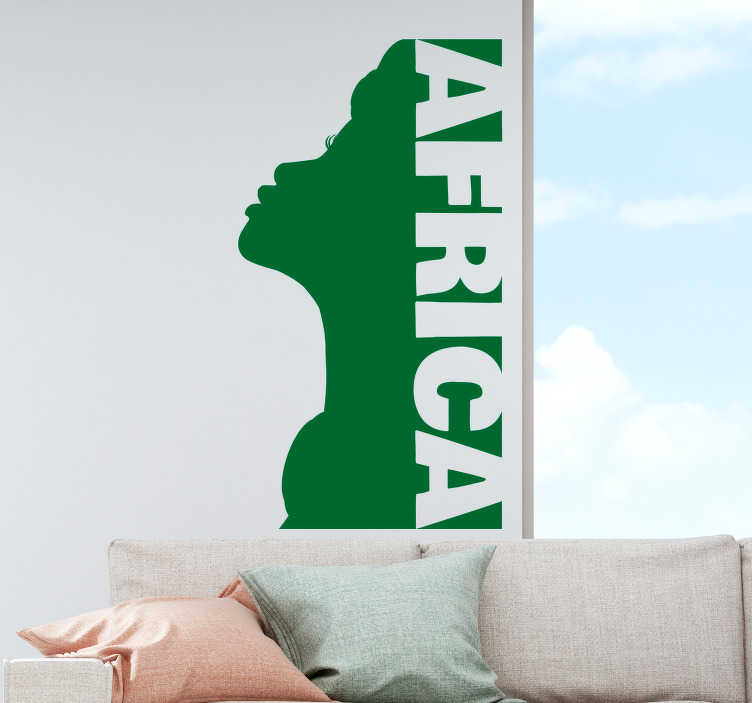 TENSTICKERS. アフリカの女性のリビングルームの壁の装飾. あなたのパリンの壁を飾る素晴らしい壁のステッカー。パーソナライズされた色を利用できます