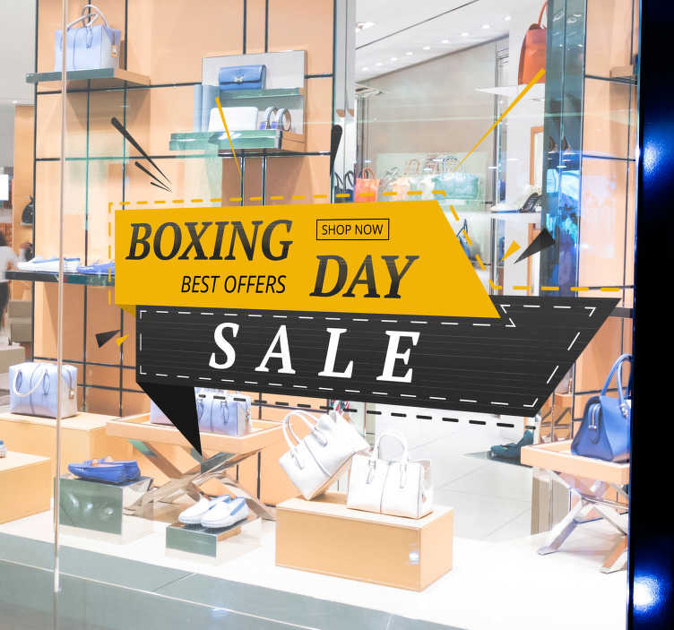 TenStickers. Boxing Day Sale Window Sticker. Let everyone know about your Boxing Day sale with this fantastic window sticker! Personalised stickers.