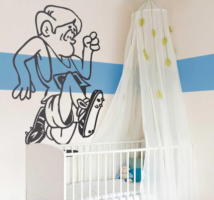 TenStickers. Wandtattoo Kinderzimmer Hürdenspringer. Gestalten Sie das Kinderzimmer mit diesem witzigen Wandtattoo eines gezeichneten Hürdenspringers und lassen Sie Ihn das Kinderbett überspringen!