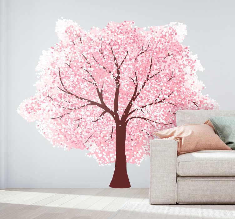 TenStickers. Slaapkamer muursticker kersenbloesem. Decoreer de muren in uw woning met deze mooie, kleurrijke muursticker waar een kersenbloesem op is afgebeeld. 10% korting bij inschrijving.