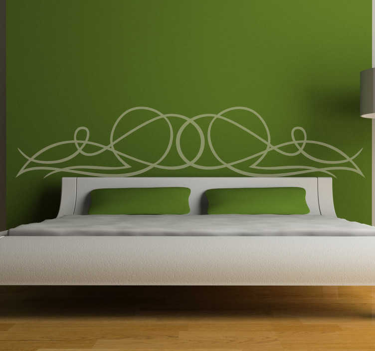 TenStickers. Lijnsticker Hoofdeinde Bed. Bedhoofdbord sticker met het patroon van gekrulde lijnen en bogen, ideaal voor in de slaapkamer. Kleur en afmetingen aanpasbaar. Ervaren ontwerpteam.