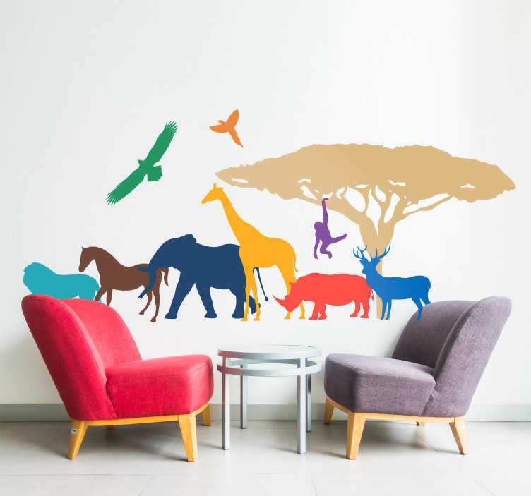 TenStickers. Kleurrijke Safari Dieren Muursticker. Prachtige wanddecoratie sticker die kleurijke safari dieren afbeeldt. Verkrijgbaar in verschillende afmetingen. Dagelijkse kortingen.