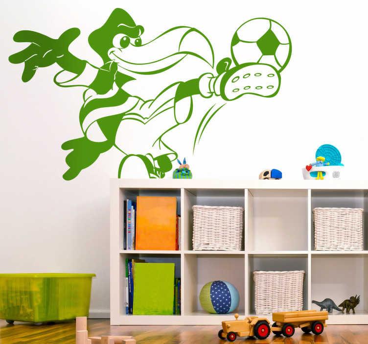 TenStickers. Sticker kinderen papegaai voetballen. Muursticker voor kinderen van een papegaai dat een voetbal recht op de volley neemt! Prachtige wanddecoratie voor de kinderkamer.