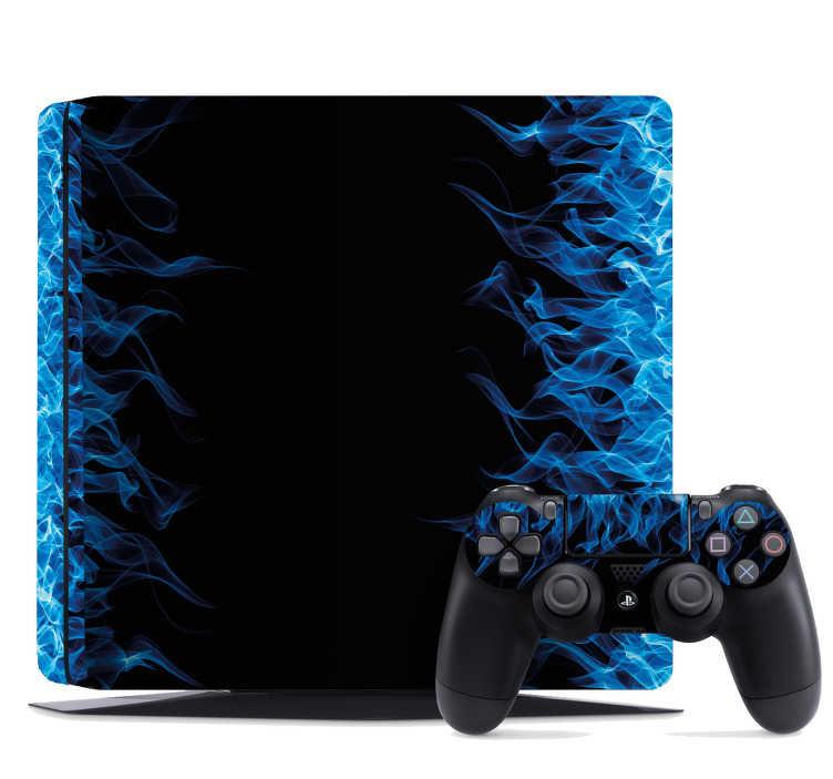 TenStickers. Naklejka na PS4 niebieskie płomienie. Naklejka na PS4, przedstawiająca niebieskie płomienie na czarnym tle. Idealna dekoracja dla każdego gracza, który chce odmienić wygląd swojego PS4! Nowe promocje w naszym newsletterze!
