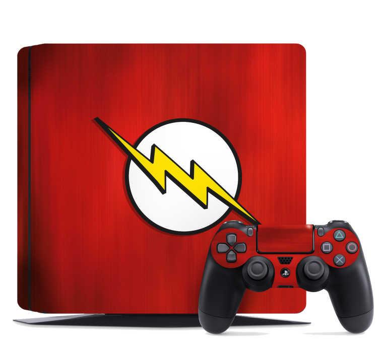 TenVinilo. Vinilo infantil relampago ps4. Fantástico vinilo adhesivo para PS4 y controladores con el logo del superhéroe Flash sobre un fondo de color rojo. Vinilos Personalizados a medida.