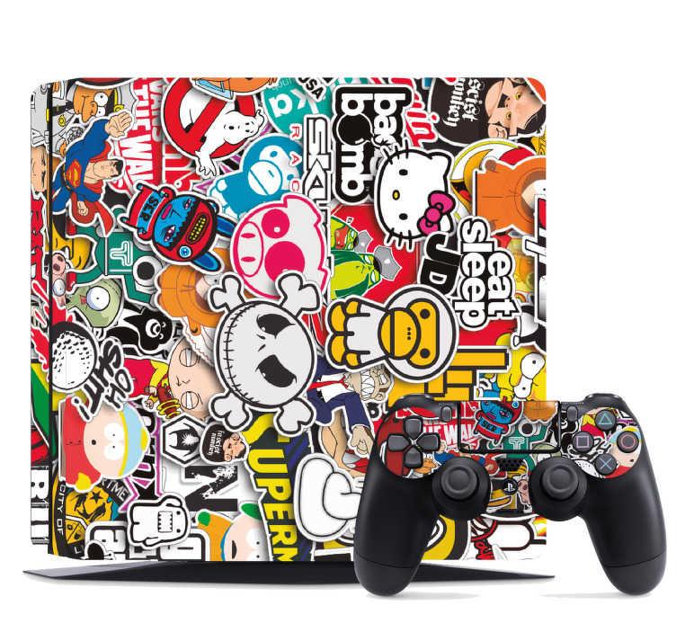 TenStickers. Naklejka na PS4 kolaż postaci z kreskówek. Jeśli uwielbiasz komiksy i kreskówki, ta naklejka na PS4, przedstawiająca różne postacie jest idealna dla Ciebie! Na pewno znajdziesz na niej swoje ulubione charaktery! Nasi graficy pomogą Ci z projektem!