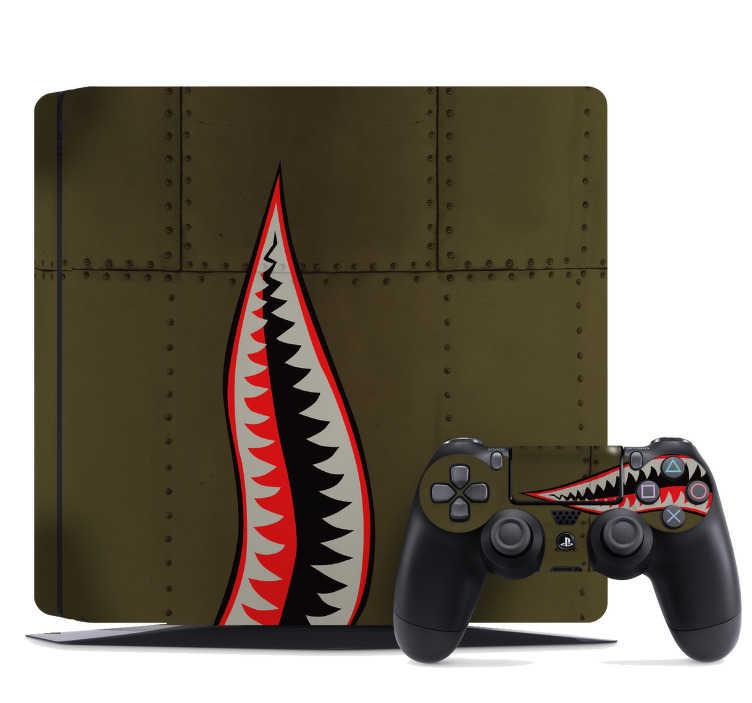 TenStickers. Naklejka na PS4 zęby rekina. Naklejka na PS4, przedstawiająca zęby rekina - projekt, który był wykorzystany na samolotach RAF podczas II Wojny Światowej. Jeśli uwielbiasz historię, a także gry komputerowe, ta naklejka jest idealna dla Ciebie! Spersonalizuj swoją naklejkę!