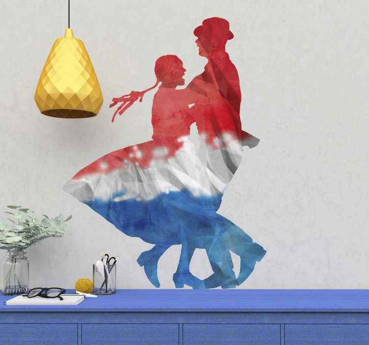 TenVinilo. Vinilo pared Cueca baile personajes. Original vinilo adhesivo para el salón con el diseño de dos personas bailando la cueca en los colores de la bandera Chilena. +50 Colores Disponibles.