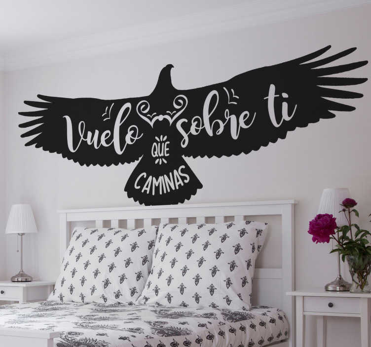 TenStickers. Andean condor drawing literature wall decal. Andean condor drawing with literature quote wall sticker. A design customisable in any one of the available colours and size. Easy to apply.