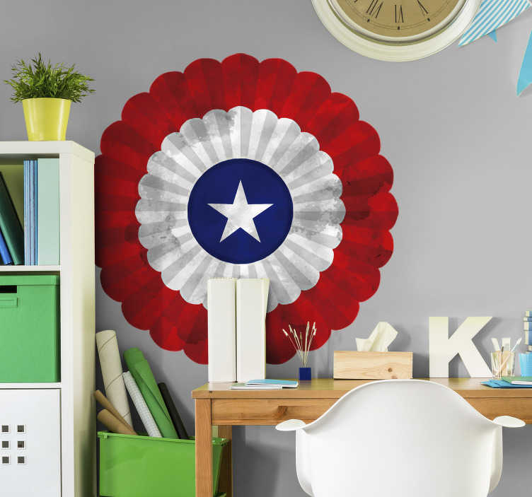 TenStickers. Cockade of Chile flag decal. Cockade of Chile flag wall sticker for home and office space decoration. Easy to apply and available in any required size.