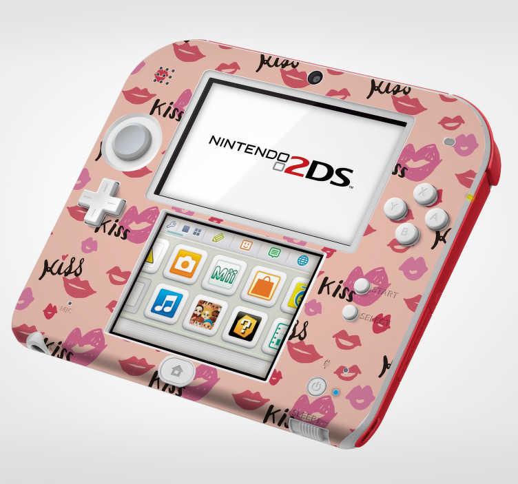 TenStickers. Nintendo sticker met lippen. Breng romantiek en gamen bij elkaar met deze Nintendo sticker met een romantisch thema. Verkrijgbaar in verschillende afmetingen.