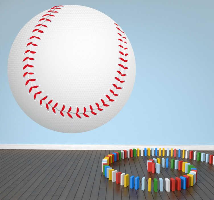 TenStickers. Adhésif sport balle de baseball. Stickers décoratif représentant une balle de baseball.Sélectionnez les dimensions de votre choix pour personnaliser le stickers à votre convenance.Super idée déco pour la chambre des garçons.