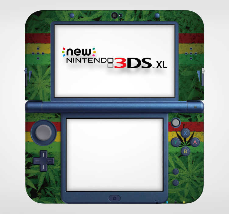 TenVinilo. Vinilo planta marihuana nintendo. Pegatina adhesiva para Nintendo con el diseño de la planta de la marihuana, acompañada de la bandera rastafari. Vinilos Personalizados a medida.