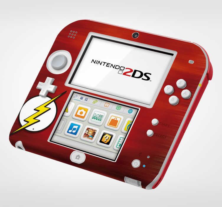 TenVinilo. Vinilo infantil relámpago nintendo. Original y colorida pegatina adhesiva para Nintendo con el logo del superhéroe Flash sobre un fondo de color rojo. +50 Colores Disponibles.