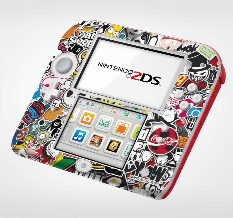 TenVinilo. Vinilo original sticker bomb nintendo. Colorido vinilo para Nintendo con un diseño formado por muchas pegatinas diferentes colocadas una encima de otra. Atención al Cliente Personalizada.
