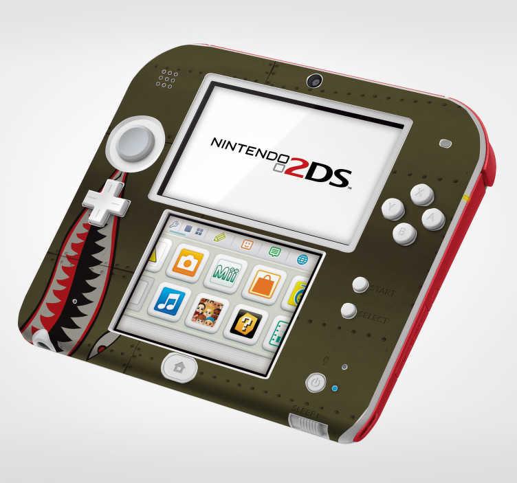 TenVinilo. Pegatina Tiburón fuerzas aéreas nintendo. Original pegatina decorativa adhesiva para Nintendo con el diseño de la boca de un tiburón sobre textura metálica. +50 Colores Disponibles.