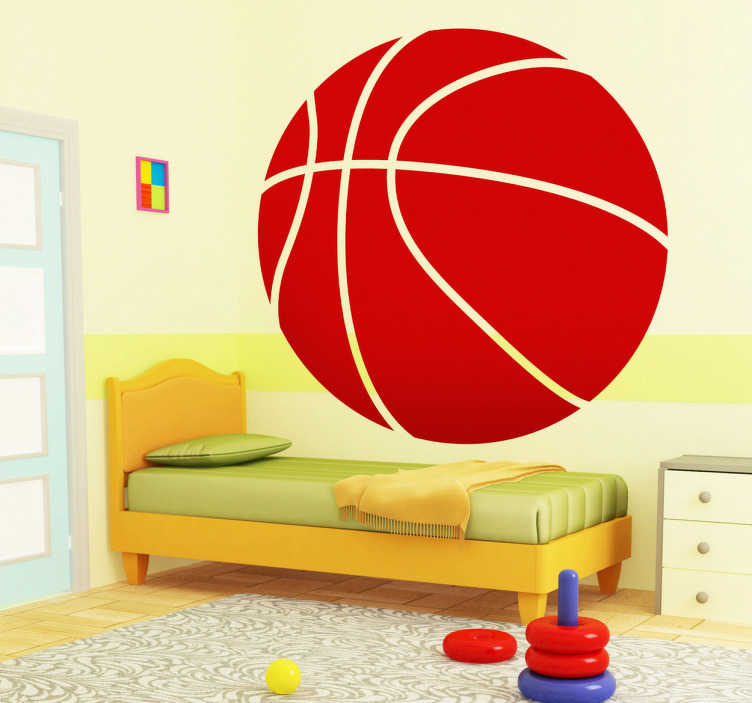 TenStickers. Basketball Kids Sticker. Sports Stickers - Striking basketball design great for decorating kids' rooms and bringing a splash of colour to some otherwise plain walls. Awesome template design of a basketball available in any size and 50 different colours so you can decorate the room in a way that suits you best.