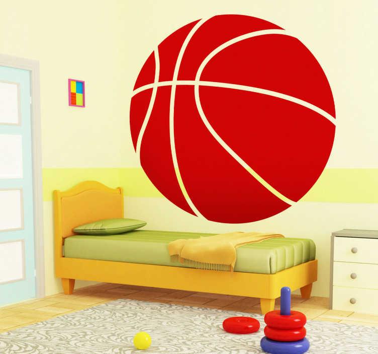TenStickers. Nalepka košarke za otroke. športne nalepke - presenetljiva košarkaška zasnova odlična za dekoriranje prostorov za otroke in prinašanje barve barve na druge navidezne stene. Super dizajn košarice, ki je na voljo v katerikoli velikosti in 50 različnih barv, tako da lahko sobo dekorirate tako, da vam najbolj ustreza.