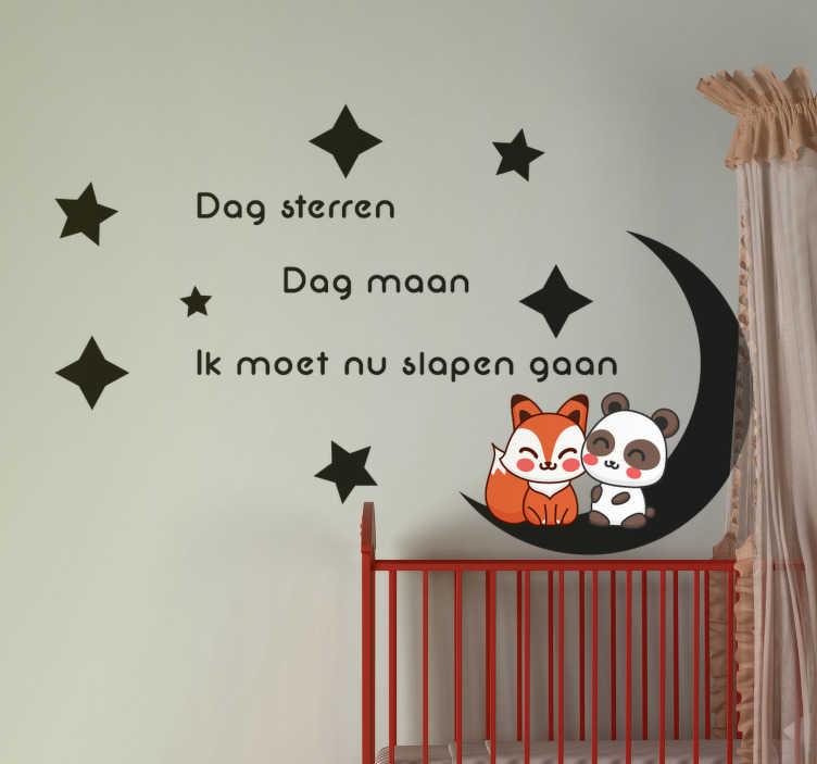"""TenStickers. Kinderkamer muursticker ik moet nu slapen gaan. Kinderkamer muursticker met de tekst """"Dag sterren. Dag maan. Ik moet nu slapen gaan"""", een maan en sterren. Dagelijkse kortingen."""