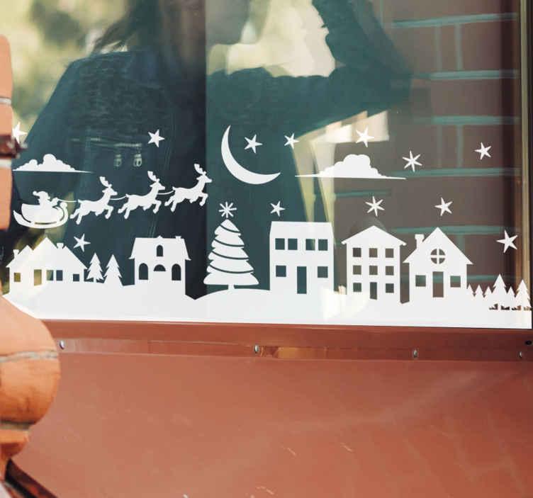TenStickers. Raamsticker Kersthuisjes. Deze raamsticker omvat Kersthuisjes, een slee met rendieren, een maan en sterren. Verkrijgbaar in verschillende kleuren en maten. Eenvoudig aan te brengen.