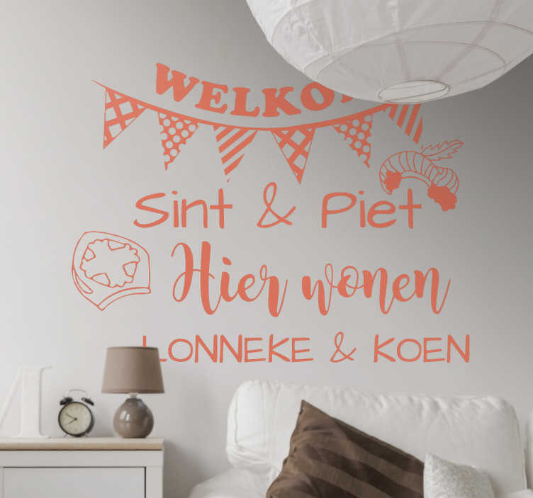 TenStickers. welcome Sint & Piet wall decal. Saint Nicholas Festival home wall stickler with text personalisation. Available in different colours and size options. easy to apply and adhesive.