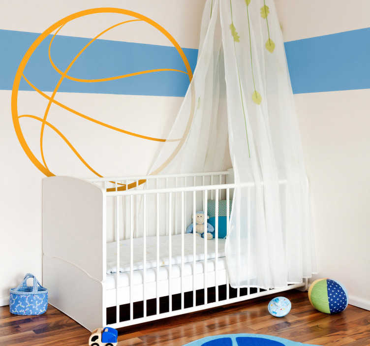 TENSTICKERS. バスケットボールの輪郭の壁の子供のステッカー. バスケットボールの壁のステッカー - 多くのサイズと色でご利用いただけます。彼らがバスケットボールを愛している場合、このクールなデザインであなたの子供の寝室を飾る!