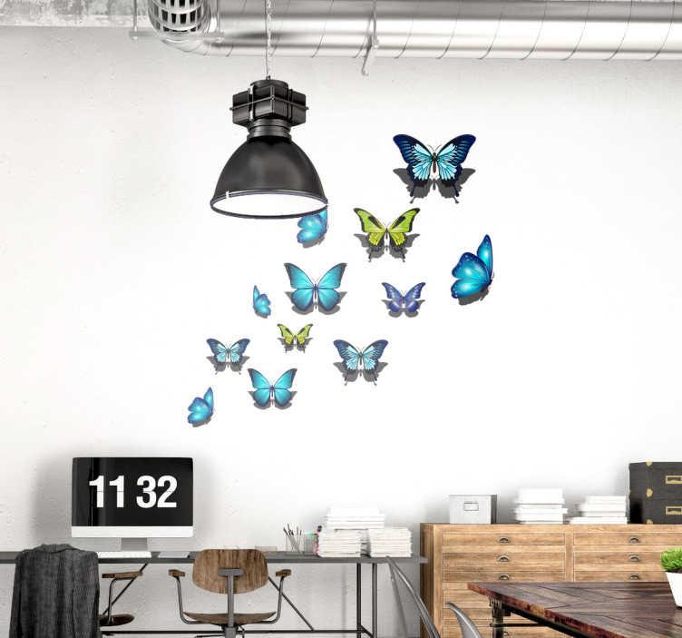 TenStickers. Muurstickers dieren Kleurrijke vlinders. Kleurrijke vlinders muursticker en vlinders muurstickers in alle maten. Geniet van onze vrolijke vlinders stickers en vlinders muur decoratie!
