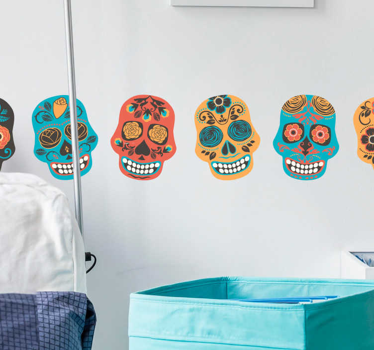 TenStickers. wrestling skulls border sticker. Decorative multicolored wrestling skulls wall border sticker. Available in any required size and easy to apply. Self adhesive and durable.