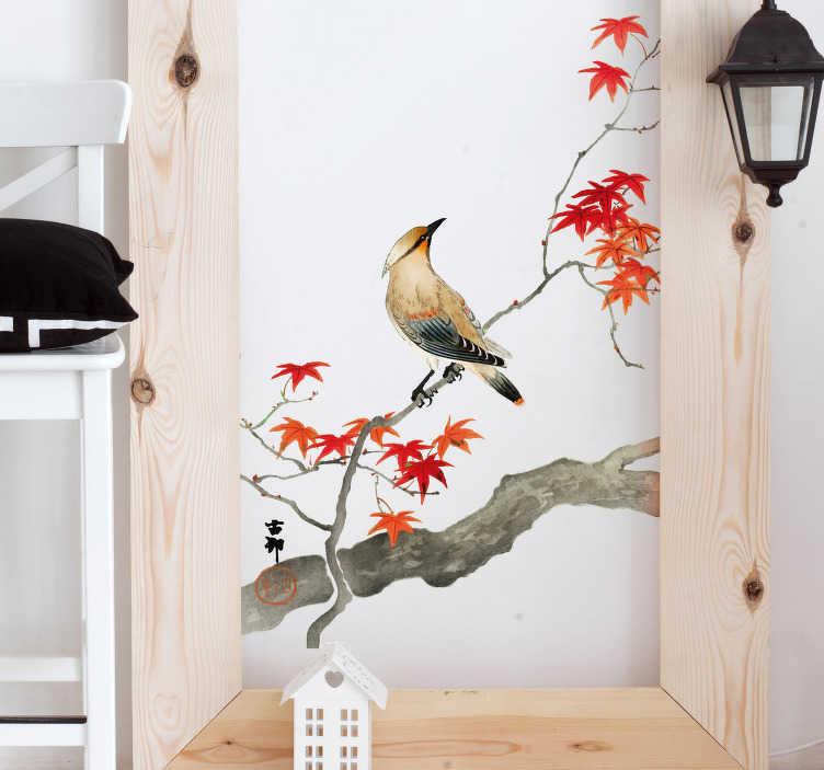 TenStickers. Slaapkamer muursticker rode Japanse esdoorn. Fleur uw woning op met deze muursticker die een vogel op een rode Japanse esdoorn afbeeldt. Afmetingen aanpasbaar. Eenvoudig aan te brengen.
