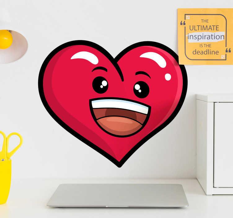 TenStickers. Naklejka na ścianę do domu uśmiechnięte serce. Naklejka na ścianę przedstawiająca czerwone, uśmiechnięte serce, z oczami oraz buzią, świetnie prezentować się będzie nad biurkiem lub przy łóżku.