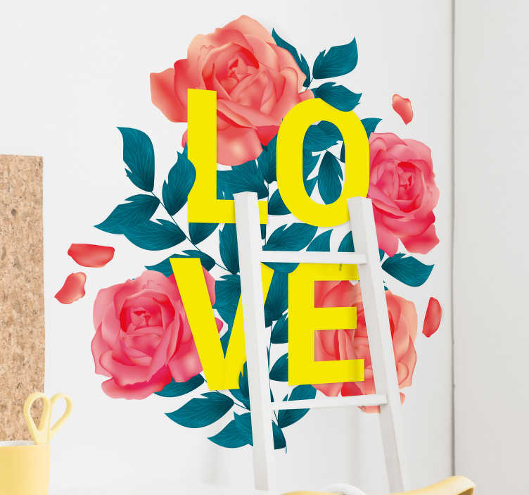 TenStickers. Love Flower Home Wall Sticker. Decorate the walls of your home with this fantastic flower themed wall sticker! Choose your size.