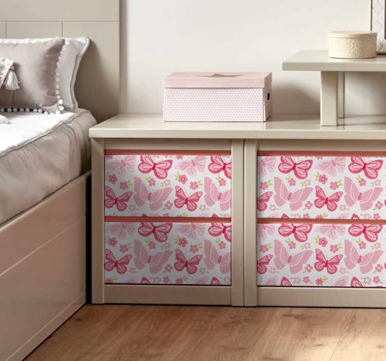 TenVinilo. Vinilo Dibujos de mariposas. Lámina de vinilo con estampado de mariposas y floras en tonos rosas ideal para renovar cualquier tipo de mueble. Promociones Exclusivas vía e-mail.