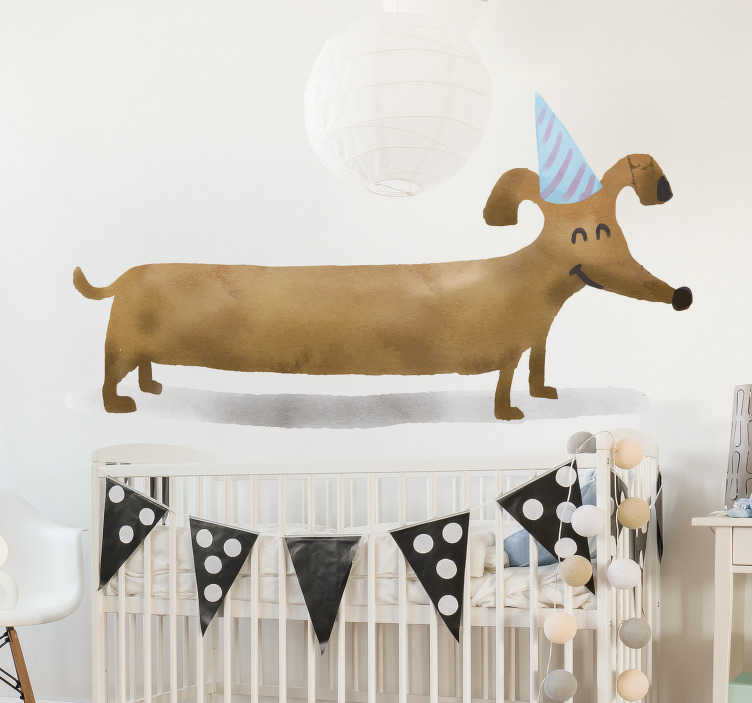 TenVinilo. Vinilo pared Dibujos de perritos. Pegatina adhesiva para habitación infantil con la ilustración de un perro salchicha con un gorro de fiesta. Promociones Exclusivas vía e-mail.